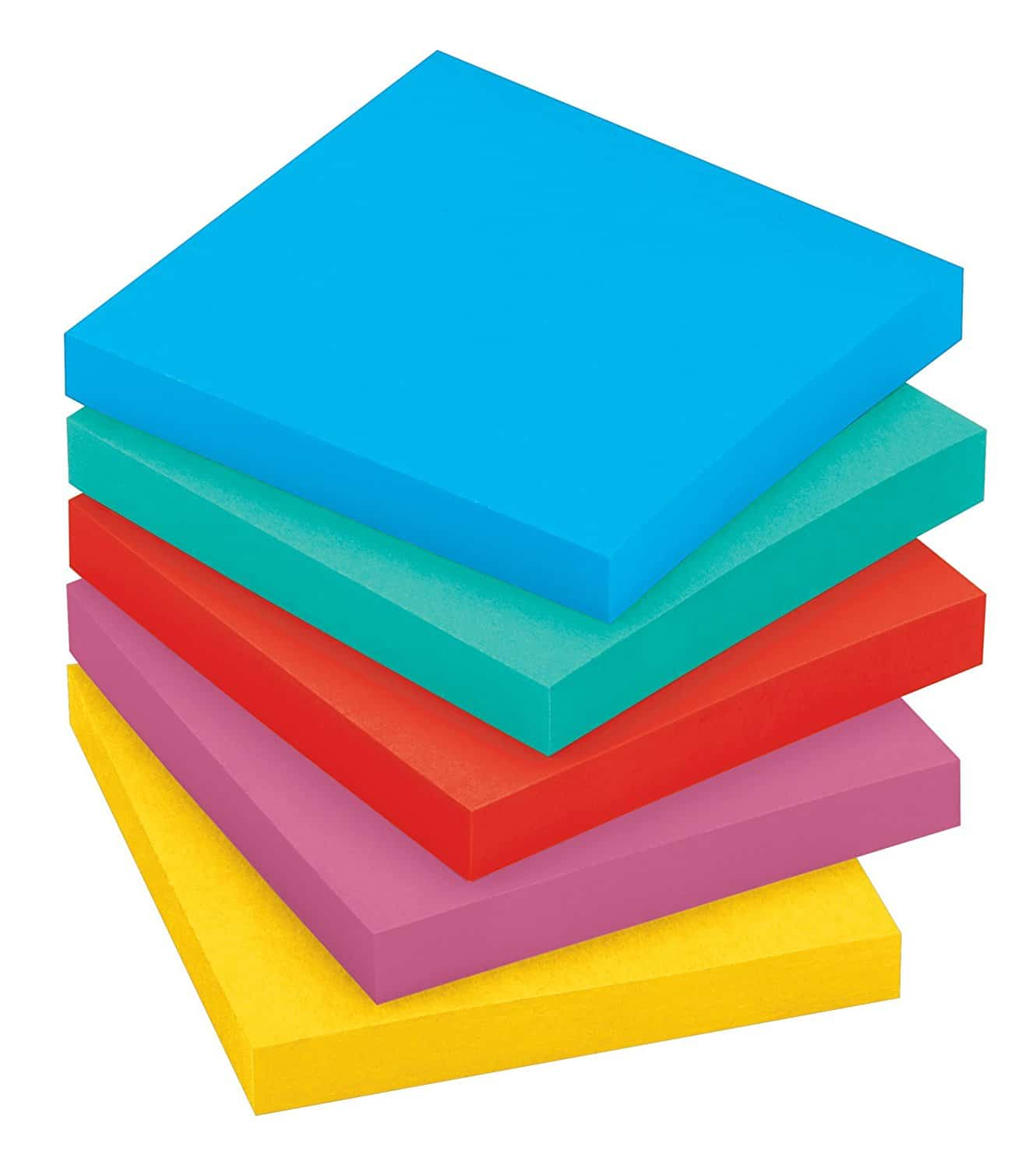 A stack of different coloured sticky note pads