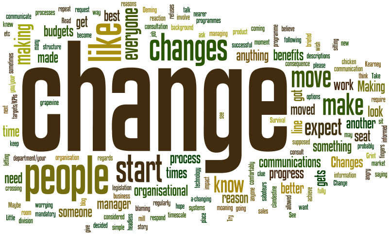 """Word cloud. """"Change"""" is the biggest word, surrounded by other words associated with leading and managing change"""