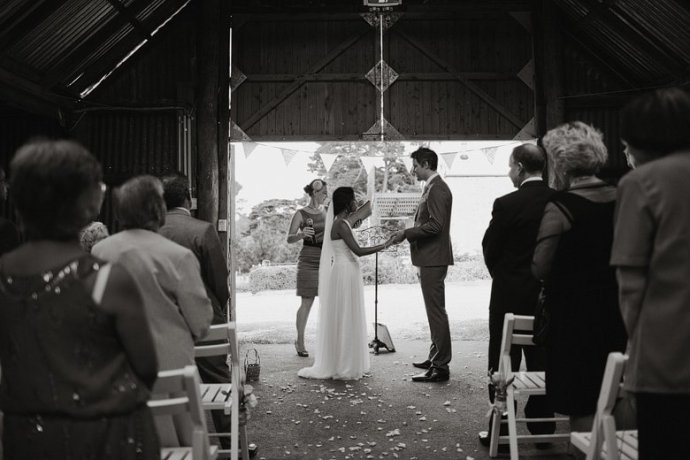 Bride and groom at the Barn, the Briars, Mt Martha