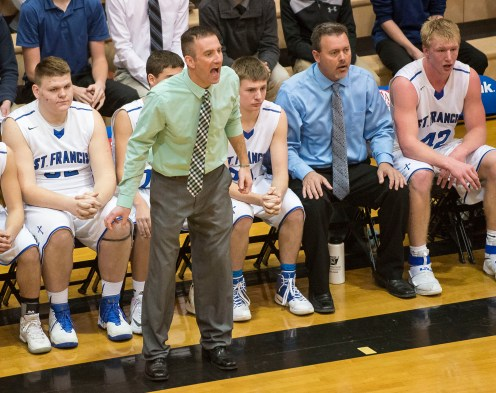 DARIN EPPERLY/DAILY NEWS LINCOLN -- Humphrey St. Francis coach Eric Kessler yells instructions to his team during their first round game against Mullen at Lincoln Southeast on Thursday in Lincoln. 3-9-17