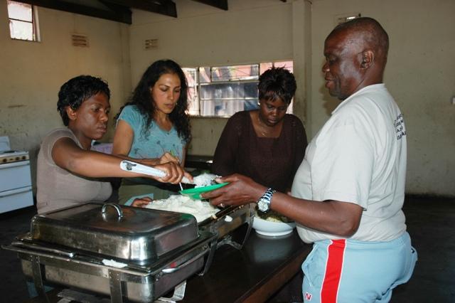 Olga, Elsie, Jane & Goodbye helping to serve the meal