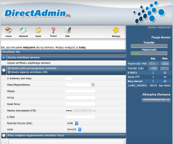 DirectAdmin Certyfikat serwera