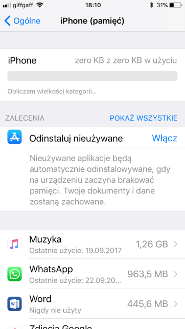 iPhone (pamięć) lista