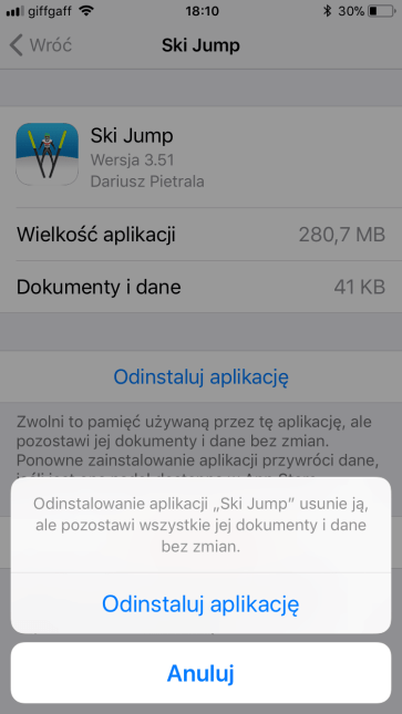 Odinstaluj aplikację