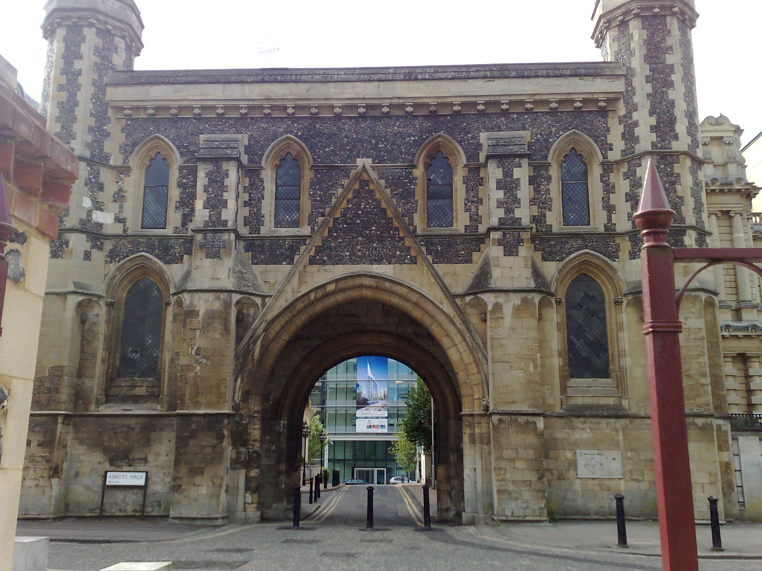 The former entrance to Reading Abbey also remains standing
