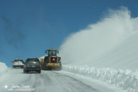A snowplow clear the wat for the summit crews to reach work