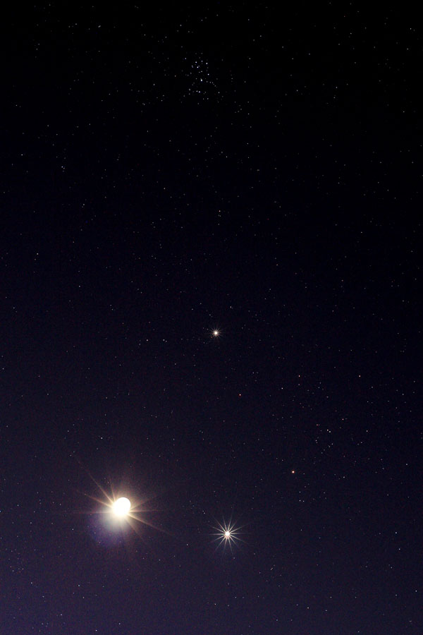 The Moon, Venus and Jupiter