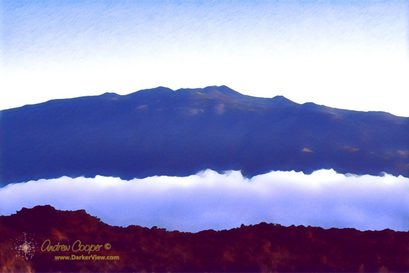 Mauna Kea seen at dawn from Mauna Loa