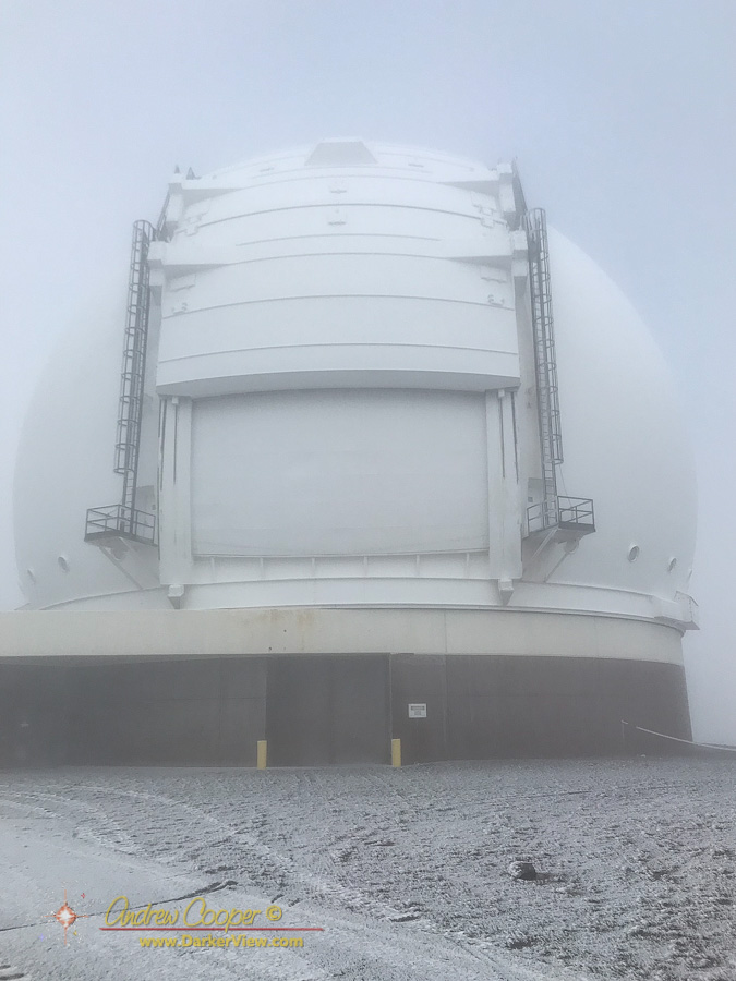 Keck 2 dome with a liberal coating of ice from freezing fog