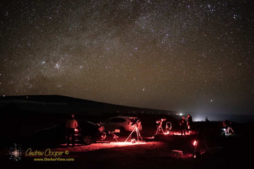 Telescopes of the West Hawaii Astronomy Club under a dark Mauna Kea sky