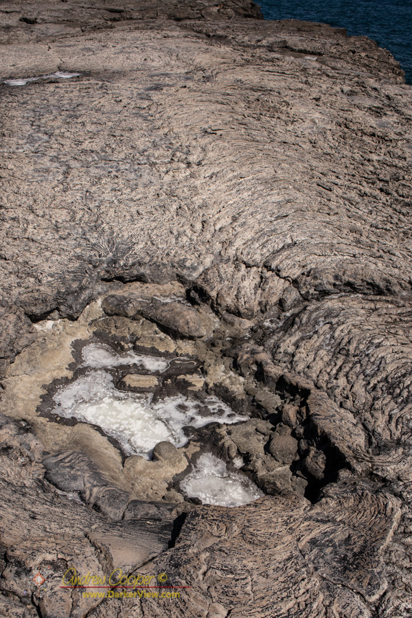 A depression in the lava forms natural salt pan