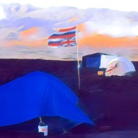 Tents of the protest camp at the base of Mauna Kea