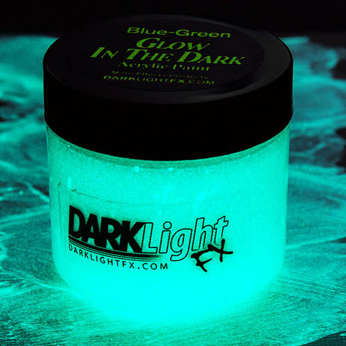 Blue Green Glow in the Dark Paint Invisible Clear