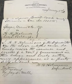 Letter signed by Holmes
