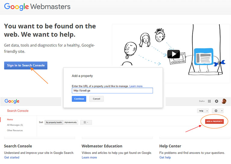 Webmaster alati i dodavanje vlasništva