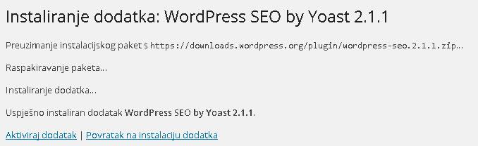 Potvrda uspjesne instalacije WP dodatka