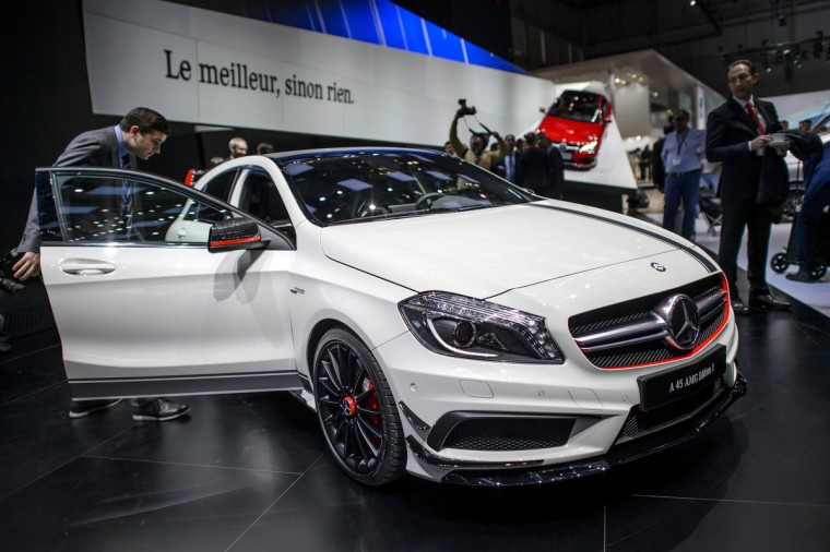 The new Mercedes Benz A 45 AMG edition is displayed in World Premiere at the German car maker's booth during the 83rd Geneva Motor Show. (Fabrice Coffrini/Getty Images)