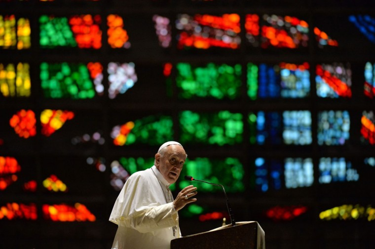 Pope Francis delivers a speech during a visit to the Cathedral of Rio de Janeiro, on July 25, 2013. Pope Francis urged young Brazilians not to despair in the battle against corruption Thursday as he addressed their country's political problems in the wake of massive protests. The first Latin American and Jesuit pontiff arrived in Brazil mainly for the huge five-day Catholic gathering World Youth Day. (Nelson Almeida/AFP/Getty Images)