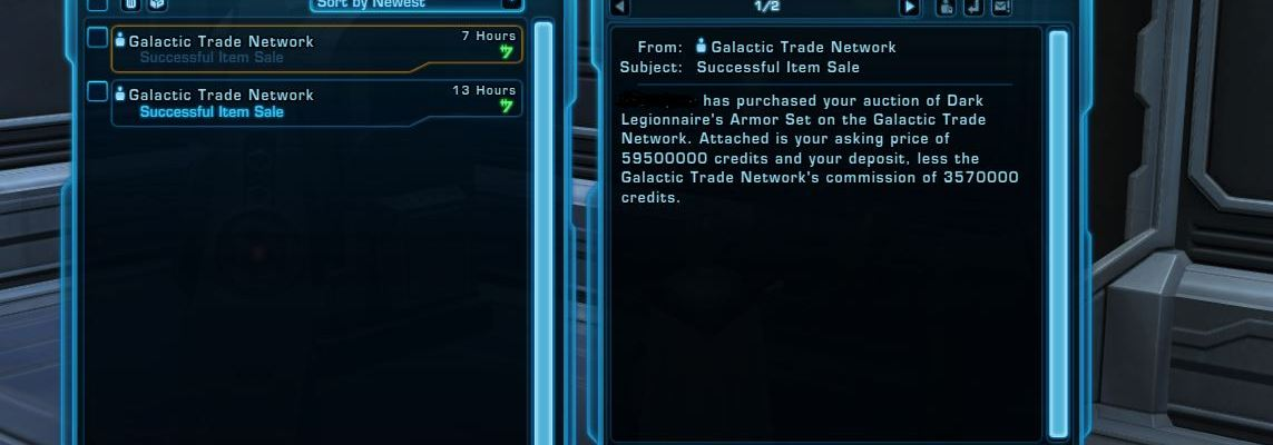 MY FIRST ONE BILLION CREDITS IN SWTOR