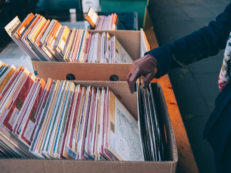 looking at records in a record bin