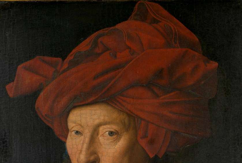 Jan van Eyck, Portrait of a Man (Selfportrait?) (detail turban), 1433, National Gallery London