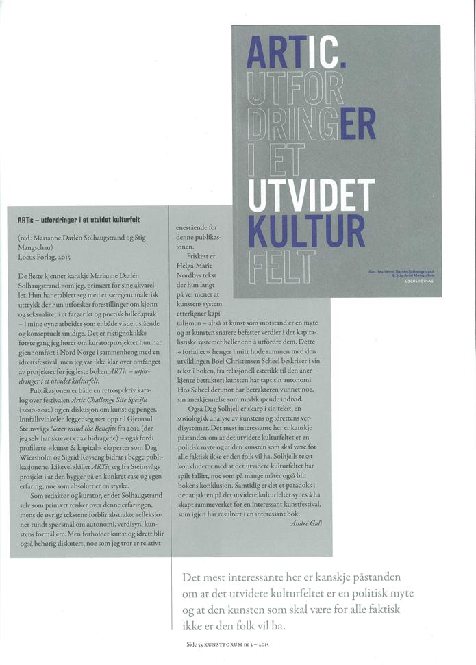 Bokanmeldelse Kunstforum-Artic utfordringer i et utvidet kulturfelt 2015