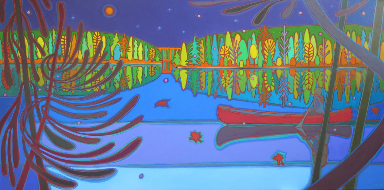 Autumn Colours - Canoe Ride on Still Waters 30 x 60 - Darlene Kulig
