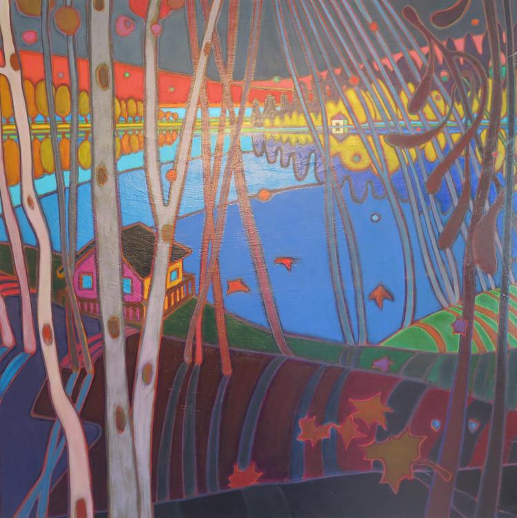Autumn Colours - Little Boathouse Across the Lake - Darlene Kulig