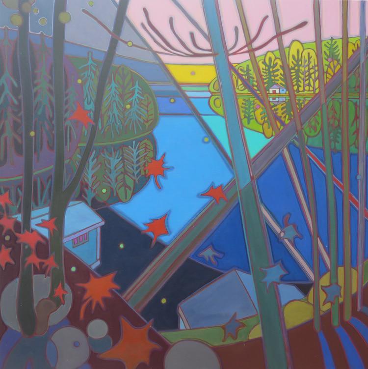Autumn Colours - Muskoka Boathouses 48 x 48 - Darlene Kulig