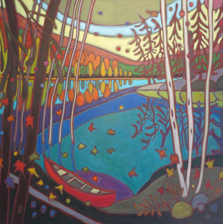 Autumn Colours - Pink Moon on Red Canoe 24 x 24 12 - Darlene Kulig