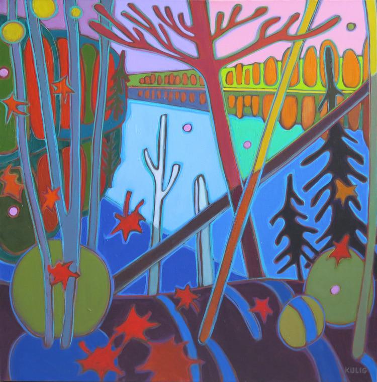 Autumn Colours - Pink Sky over Big Doe Lake 24 x 24 - Darlene Kulig