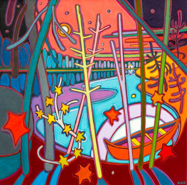 Autumn Colours - Strawberry Moon On Red Canoe - Small - Darlene Kulig