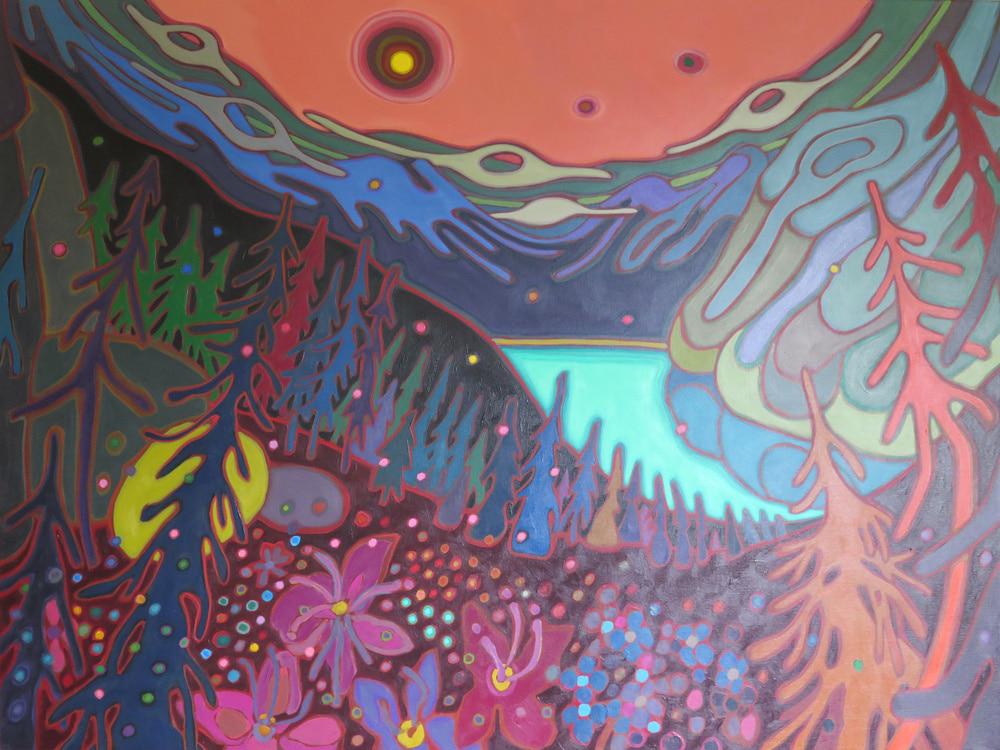 Canadian Rockies - Pink Sky over Emerald Lake 36 x 48 -3 - Darlene Kulig