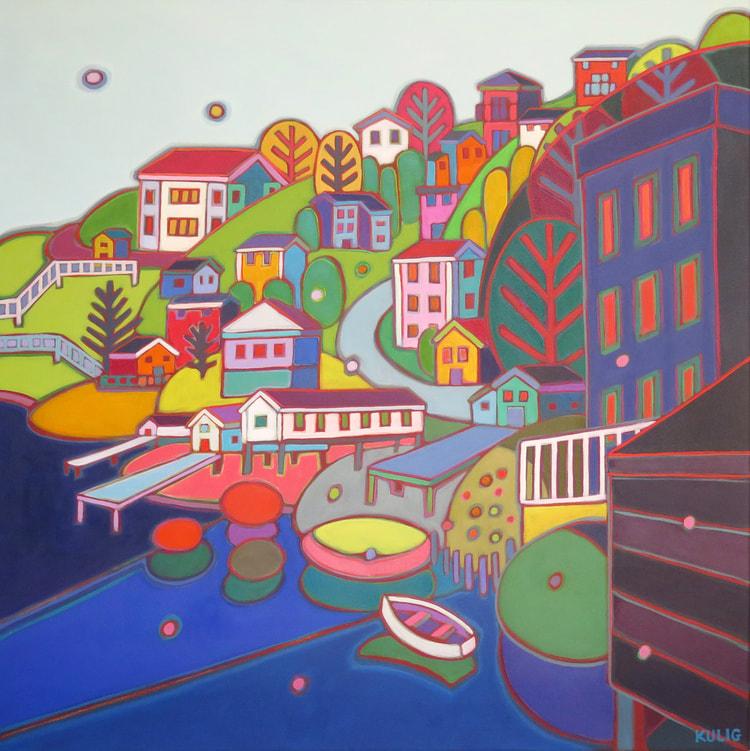 Newfoundland - Jelly Bean Hill Warm Red Light 30 x 30 - Darlene Kulig
