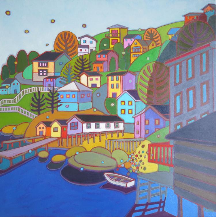 Newfoundland - Jelly Bean Hill With White Boat 36 x36 - Darlene Kulig