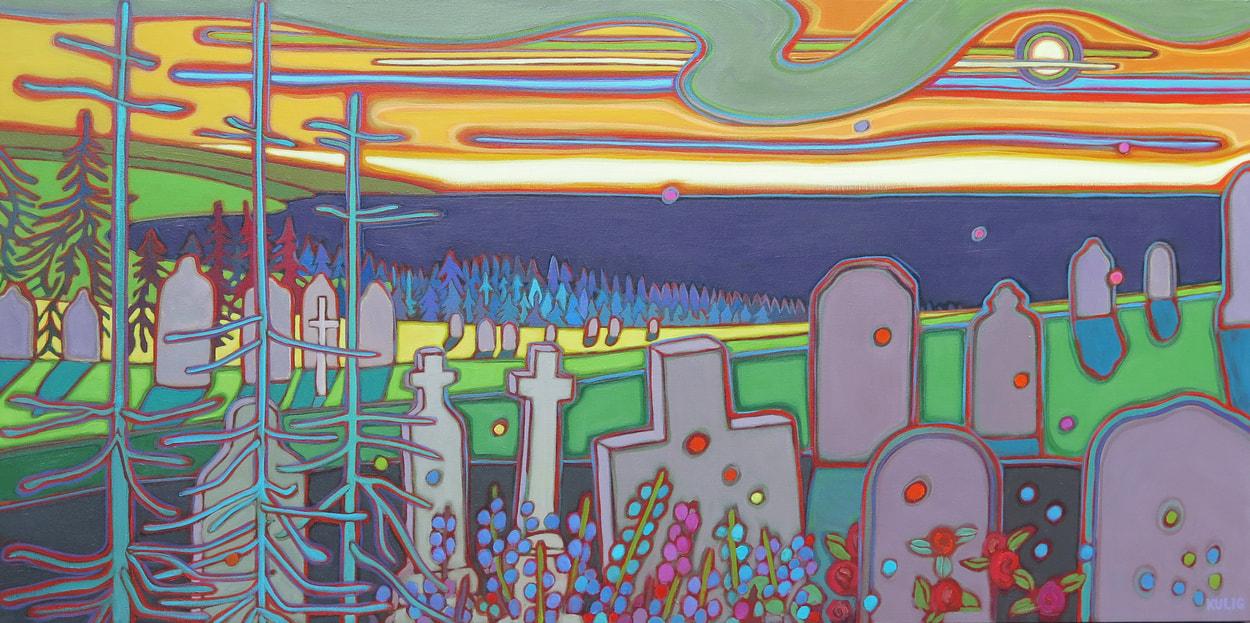 Newfoundland - Moon RIsing Above the Headstones 24 x 48 - Darlene Kulig