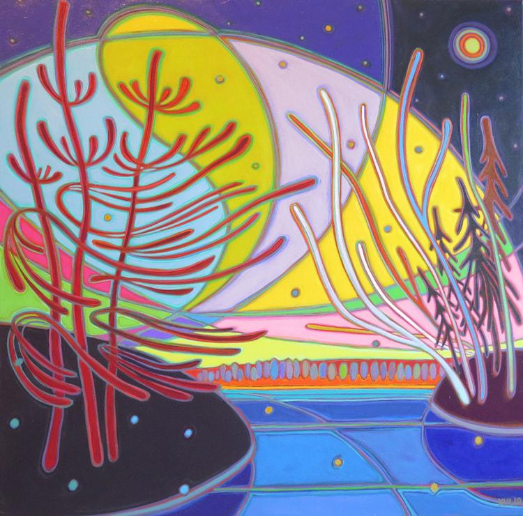 Northern Lights - Northern Lights Electric Sky 36 x 36 - Darlene Kulig