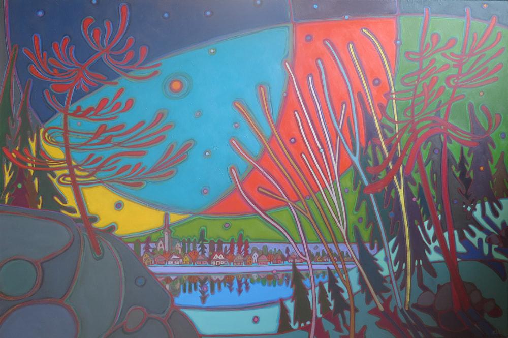 Northern Lights - Northern Lights above the River 40 x 60 - Darlene Kulig