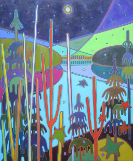 Northern Lights - Northern Lights through the Trees 30 x 36 - Darlene Kulig