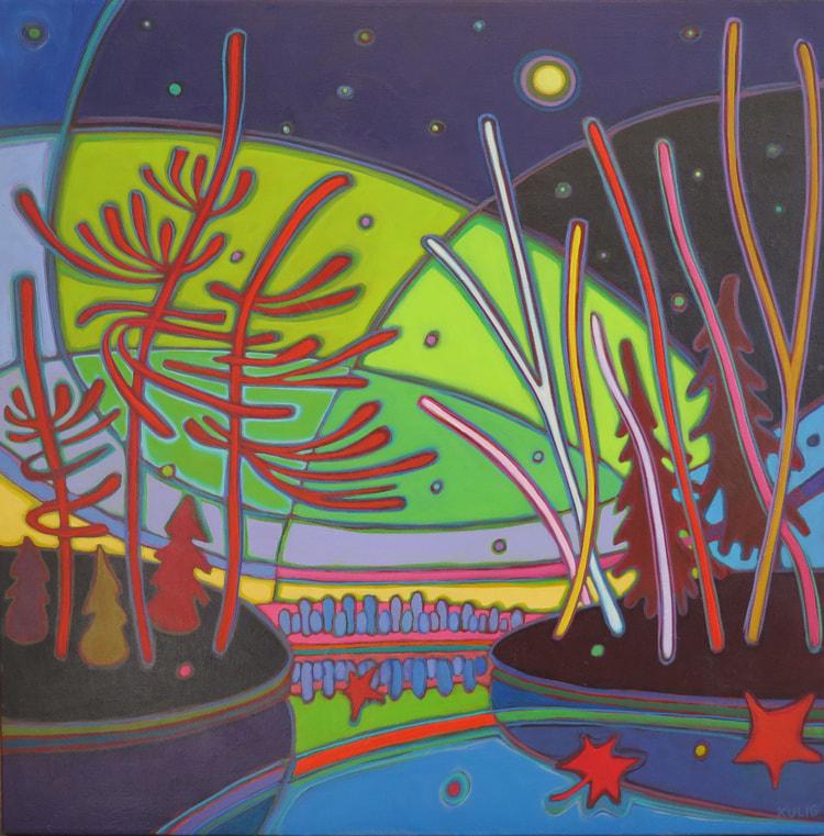 Northern Lights - Starry Starry Night 30 x 30 - Darlene Kulig
