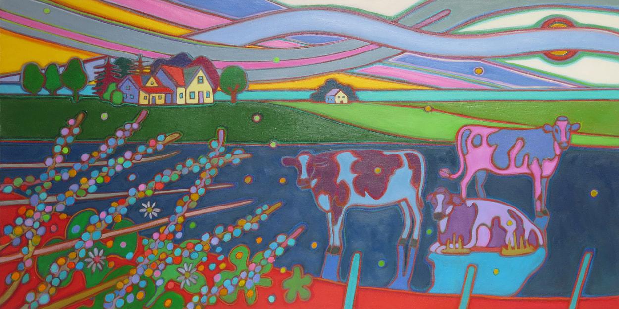Prince Edward Island - 3 Cows with Rainbow Sky 24 x 48 - Darlene Kulig
