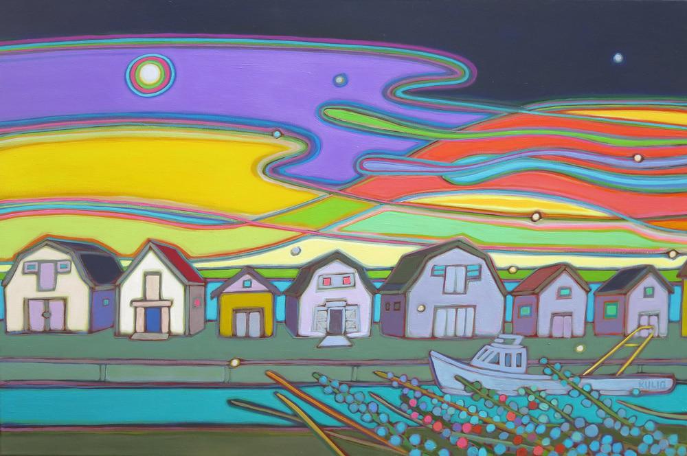 Prince Edward Island -Fishing Houses of Malpeque 24 x 36 - Darlene Kulig