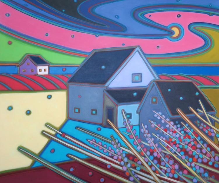 Prince Edward Island -Moon Rising on Farm Fields with Lupin 30 x 36 - Darlene Kulig