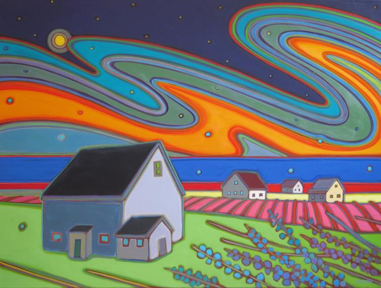 Prince Edward Island - Nightfall Dancing Sky 30 x 40 - Darlene Kulig
