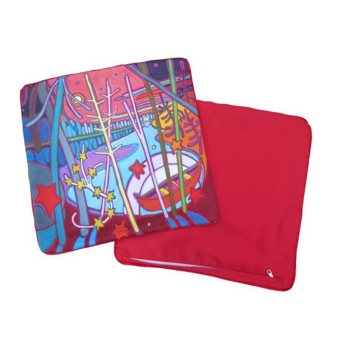 Red Canoe Resting in Strawberry Moonlight 18 x 18 Pillowcase - Darlene Kulig