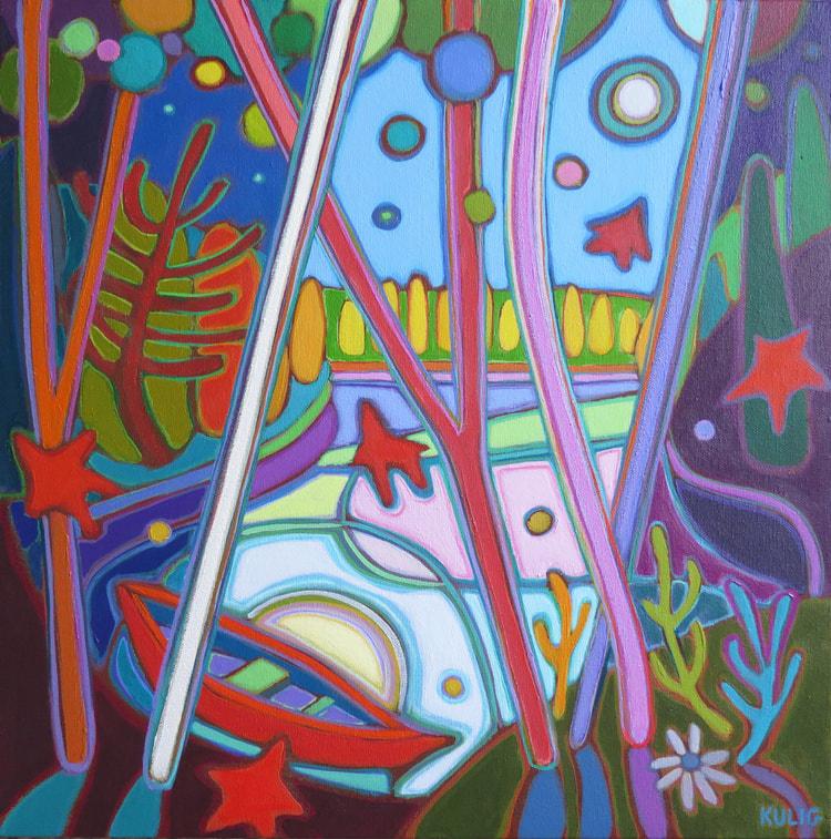 Small Canvases - Blue Moonlight on Red Canoe 16 x 16 - Darlene Kulig