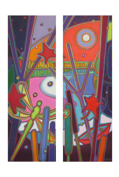 Small Canvases - Dragonfly Sunset Magic Dyptych 12 x 36 x 2 - Darlene Kulig