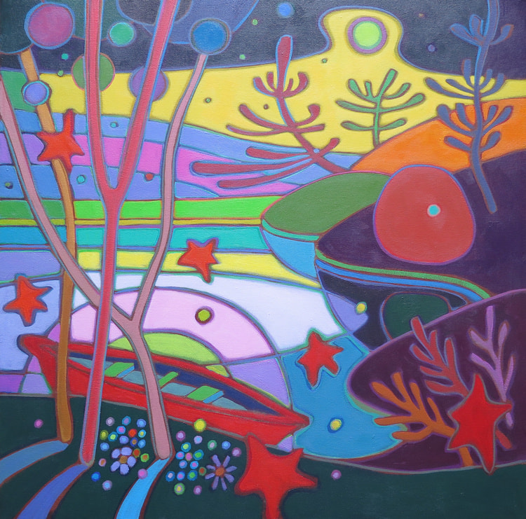 Small Canvases - Red Canoe in Rainbow Sunset 24 x 24 - Darlene Kulig