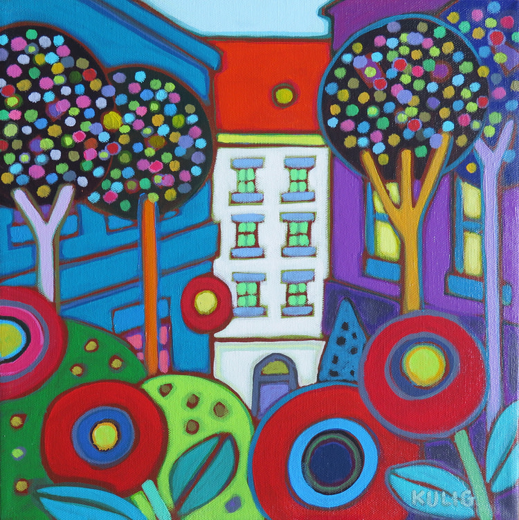 Small Canvases - Red Roof Vienna 12 x 12 - Darlene Kulig