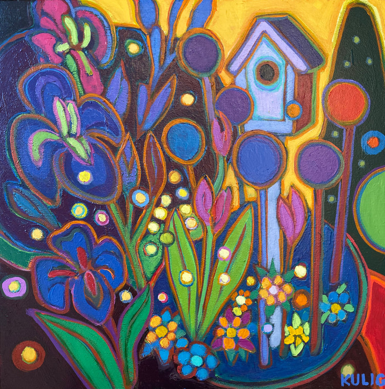 Small Canvases - Sanctuary in the Garden 12 x 12 - Darlene Kulig